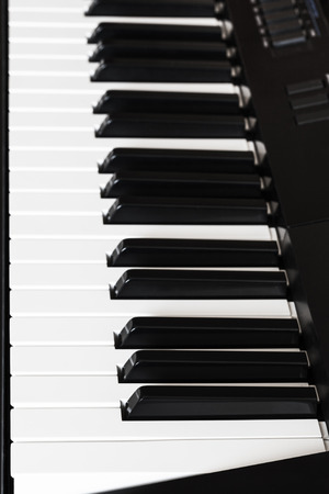 side keys: side view of black and white keys of digital piano close up