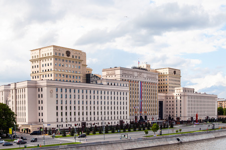 stalin empire style: MOSCOW, RUSSIA - MAY 30, 2015: building of the Ministry of Defense of Russia on Frunzenskaya embankment in Moscow, Russia