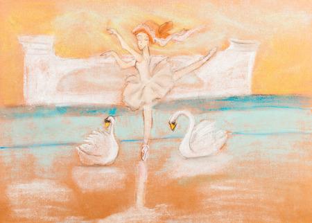 swan lake: children drawing - ballerina dancing ballet Swan Lake by dry patel Stock Photo