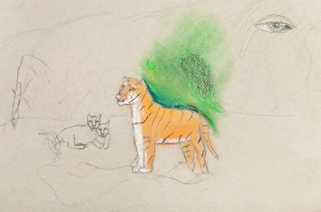 tigresa: los ni�os de dibujo sin terminar - tigresa con cachorros de l�piz de color Foto de archivo
