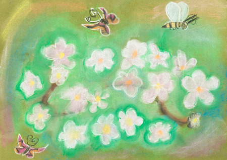 dry flower: children drawing - Butterflies fly over the green flower meadow by dry pastel Stock Photo