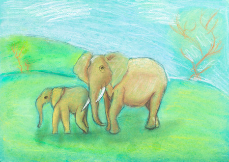 savannah: children drawing - Elephant with baby elephant in the savannah by dry pastel on green paper
