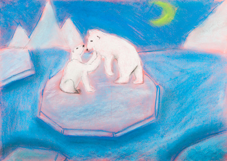 floe: children drawing - bear with a cub on an ice floe in the polar night by dry pastel on blue paper