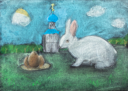 dry grass: children drawing of Easter symbols - church, eggs, Easter bunny outdoors by dry pastel