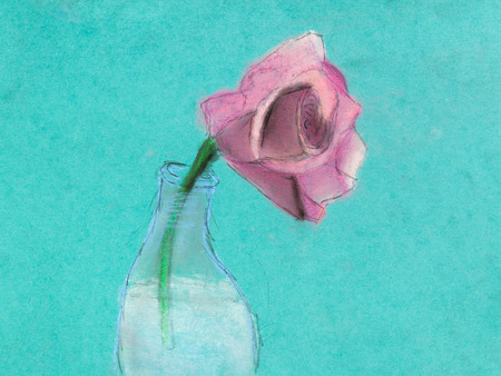 dry flower: children drawing - one pink rose flower in glass bottle by dry pastel on green paper
