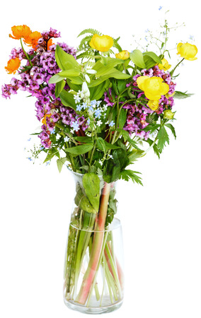 nosegay: nosegay of summer fresh natural flowers in glass vase on white background Stock Photo