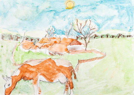 grazing: children drawing - cow grazing in meadow and country landscape by watercolor painting