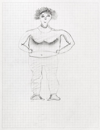 regular people: children drawing - portrait of big woman by black pencil on sheet of squared school notebook