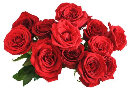 白い背景で隔離赤いバラの花束のビューの上