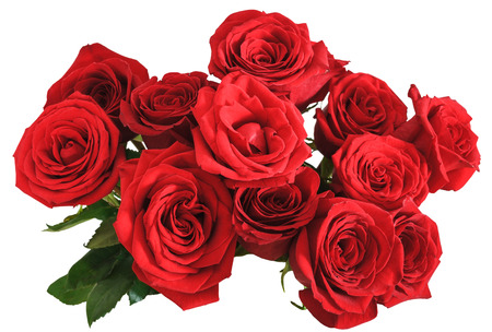 above view of bouquet of red roses isolated on white background