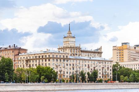 stalin empire style: urban houses on Frunzenskaya embankment in Moscow, Russia