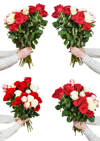 bunches: set of bunches of many rose flowers in male hands isolated on white background Stock Photo