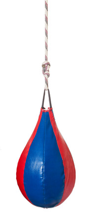 speed: pear shaped red and blue leather speed ball - boxing punch bag isolated on white background Stock Photo