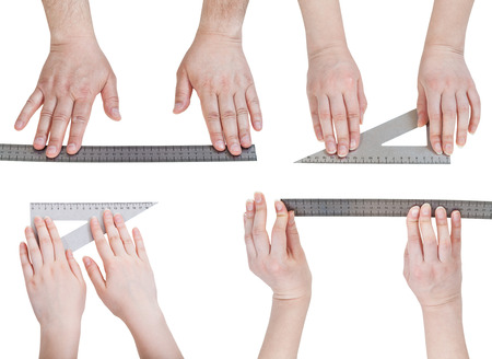 bar tool set: set of hands with metallic rulers isolated on white background Stock Photo