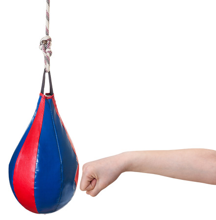 dint: hand gesture - child punches punching bag isolated on white background