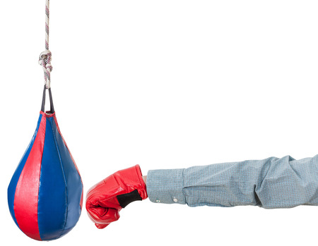 dint: hand gesture - office worker with boxing glove punches punching bag isolated on white background