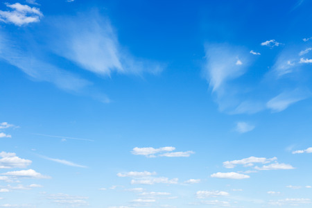 panoramic sky: natural background - light blue summer sky with little clouds