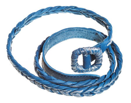 coiled: coiled blue braided leather belt isolated on white background Stock Photo