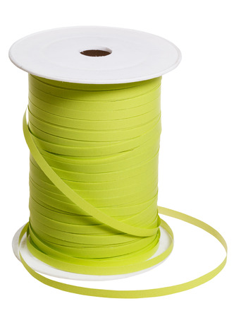 packing tape: white plastic reel with green packing tape isolated on white background Stock Photo
