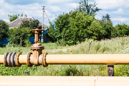 country gasification - gas pipeline in village in summer day
