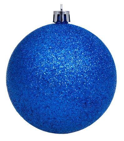 xmas background: christmas decorations - xmas dark blue ball isolated on white background Stock Photo