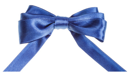 neckband: real blue satin ribbon bow with horizontal cut ends isolated on white background Stock Photo