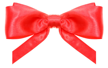 vertically: symmetrical red satin ribbon bow with vertically cut ends isolated on white background