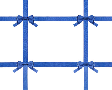 cross ties: four blue satin bows and four intersecting ribbons isolated on horizontal white background Stock Photo
