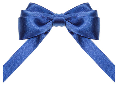 neckband: symmetric blue satin ribbon bow with vertically cut ends isolated on white background Stock Photo