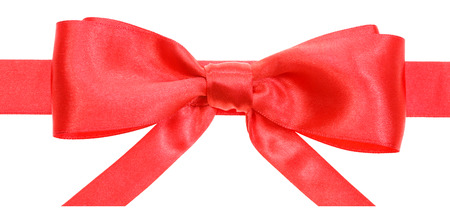 neckband: real red satin bow with horizontal cut ends on ribbon close up isolated on white background Stock Photo
