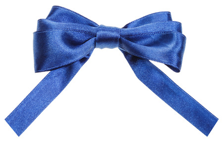 neckband: real blue satin ribbon bow with square cut ends isolated on white background