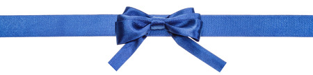 bow knot: narrow blue satin ribbon with real bow with square cut ends isolated on white background Stock Photo