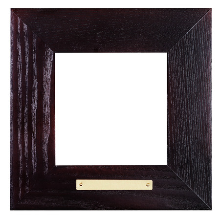brass plate: square flat black wooden picture frame with brass plate with cut out blank space isolated on white background Stock Photo