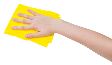 dusting: hand with yellow dusting rag isolated on white background