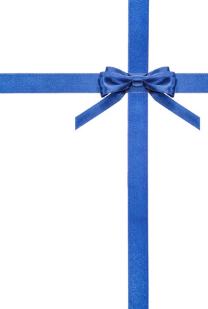 white bow: one blue satin bow in upper right corner and two intersecting ribbons isolated on vertical white background