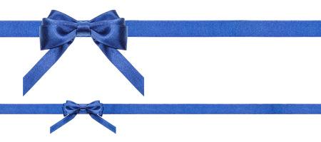 lazo regalo: dos lazos de raso azul y dos cintas horizontales aislados sobre fondo blanco horizontal