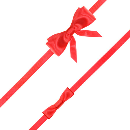 red ribbon bow: red satin bow and knot and two diagonal ribbons isolated on square white background