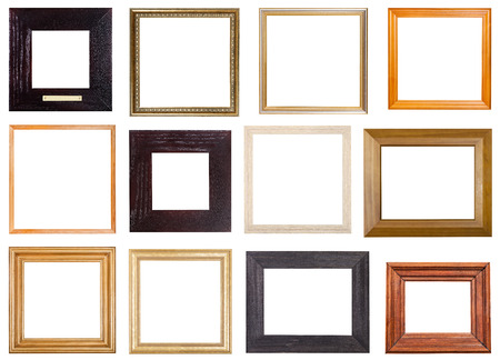 set of 12 pcs square wooden picture frames with cut out blank space isolated on white background Archivio Fotografico