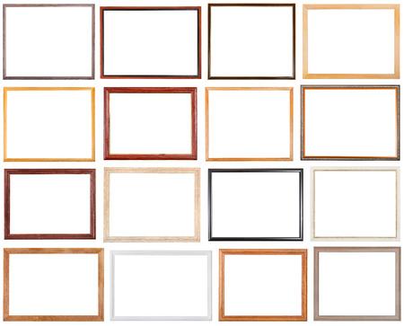 16 個のセットを狭い木製の写真フレーム、白い背景で隔離の空白をカット