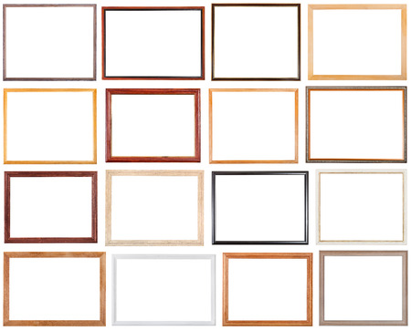 set of 16 pcs narrow wooden picture frames with cut out blank space isolated on white background