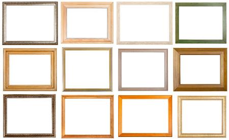 marco madera: conjunto de 12 piezas diferentes marcos de madera con el corte a cabo el espacio en blanco aislado en fondo blanco