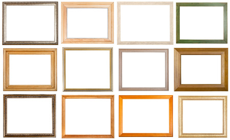 set of 12 pcs various wooden picture frames with cut out blank space isolated on white background