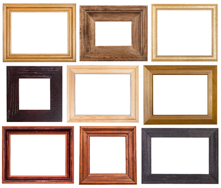set of 9 pcs wide wooden picture frames with cut out blank space isolated on white background