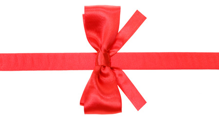 neckband: real red satin bow with square cut ends on silk ribbon isolated on white background