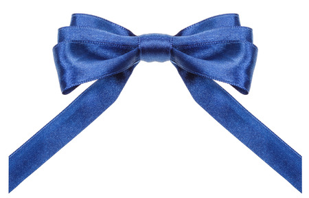neckband: symmetrical blue satin ribbon bow with vertically cut ends isolated on white background