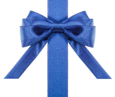 neckband: symmetric blue satin bow with horizontal cut ends on vertical ribbon close up isolated on white background
