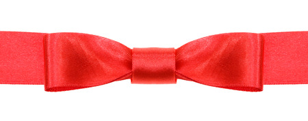 neckband: symmetric red bow knot on wide satin ribbon isolated on white background
