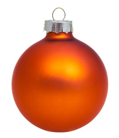 xmas background: christmas decorations - xmas orange ball isolated on white background Stock Photo