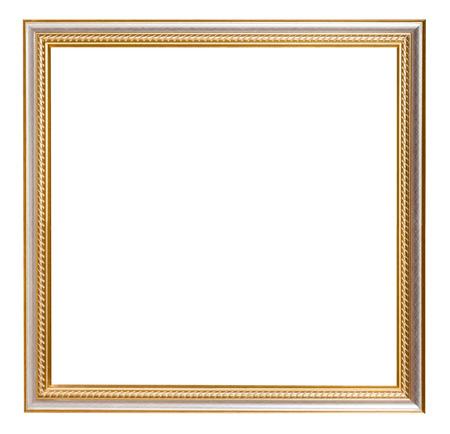 objetos cuadrados: oro cuadrada tallada marco de madera con cortar el espacio en blanco aislado en fondo blanco