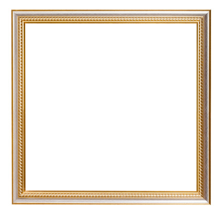 square golden carved wooden picture frame with cut out blank space isolated on white background
